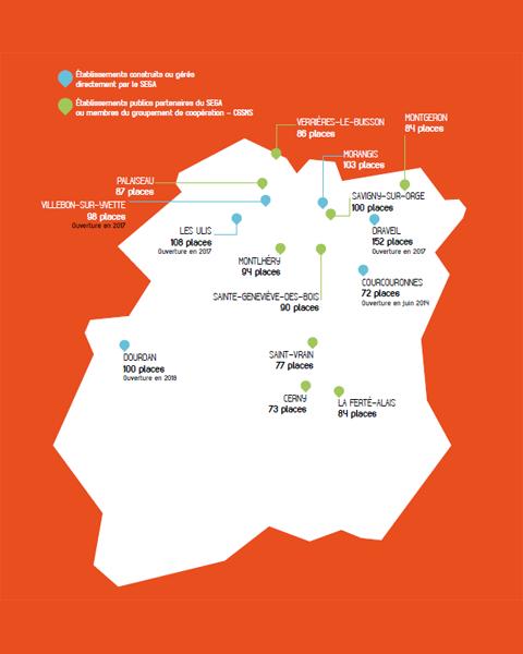 Carte des établissements liés au SEGA en Essonne