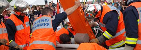 Démonstration de secours routier à l'occasion de l'événement ROUTE 91
