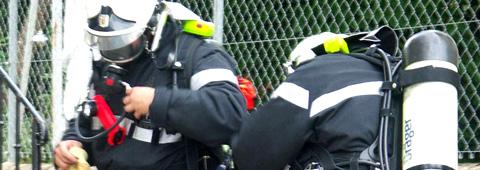 Pompier de l'Essonne en intervention
