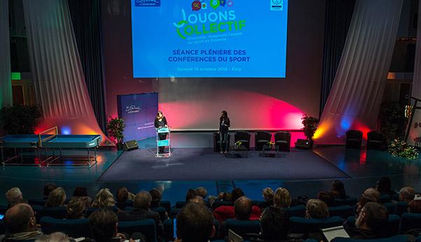 La séance plénière Jouons-Collectif avec Sophie Rigault, vice-présidente déléguée aux sports