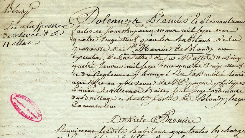 cahier de doléances de la commune de Blandy