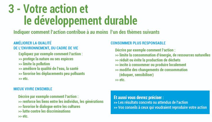 3 - Votre action et le développement durable
