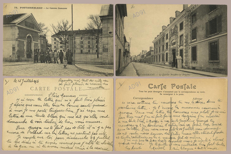1 - La caserne Damesme à Fontainebleau et le quartier Boufflers. Correspondance de Marcel Rogé à sa mère, 15 juillet 1916. (032NUM044/001)