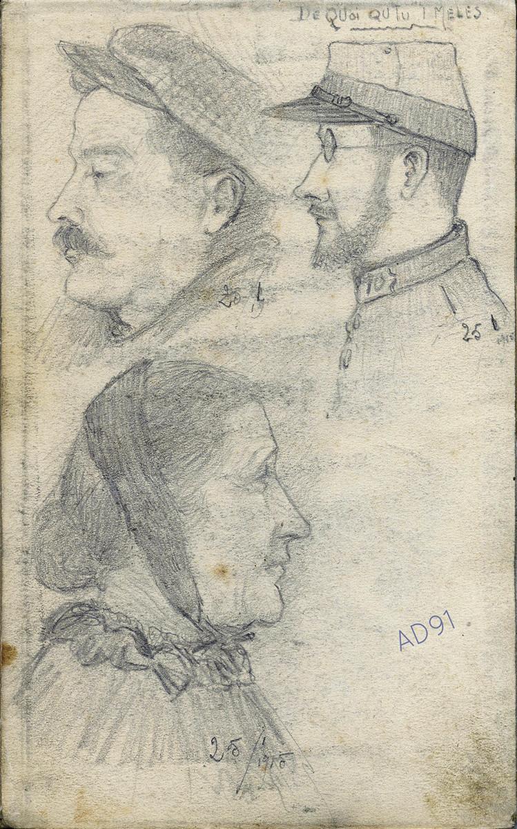 01 - « De quoi tu t'mêles », croquis de Lucien Duclair, 25 janvier 1915. (93J2/01)