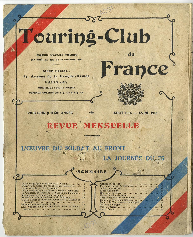 1 - Couverture de la revue du Touring-Club de France, août 1914-avril 1915. ((032NUM040/01)