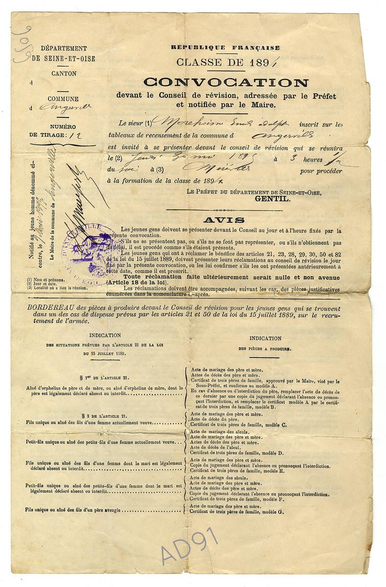 2 - Convocation devant le Conseil de révision de Méréville, 9 mai 1895. (032NUM041/04)