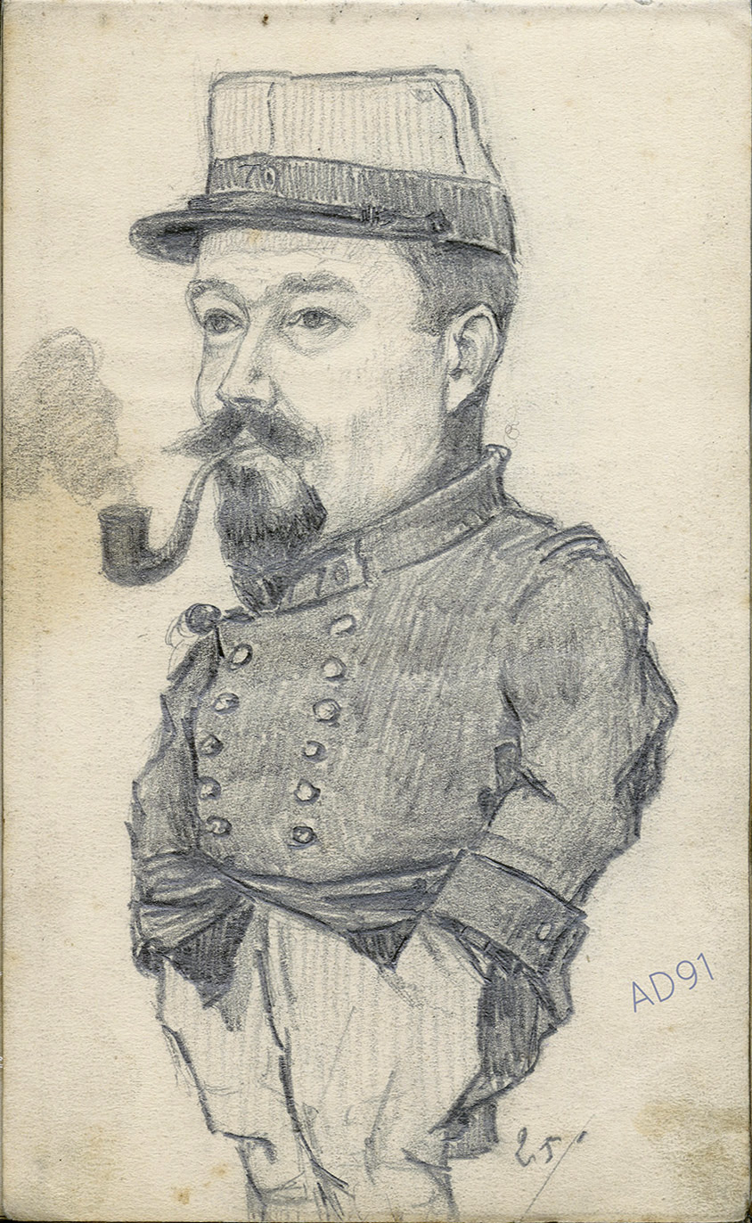 02 - Soldat du 70e régiment d'infanterie, croquis de Lucien Duclair, 25 janvier 1915. (93J2/02)