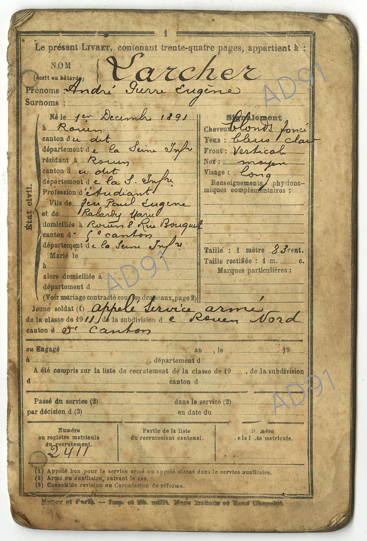 2 - Livret militaire d'André Larcher. (032NUM019/003)