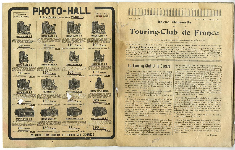 2 - Le Touring-Club de France et la guerre, article extrait de la revue Touring-Club de France, août 1914-avril 1915. (032NUM040/02)