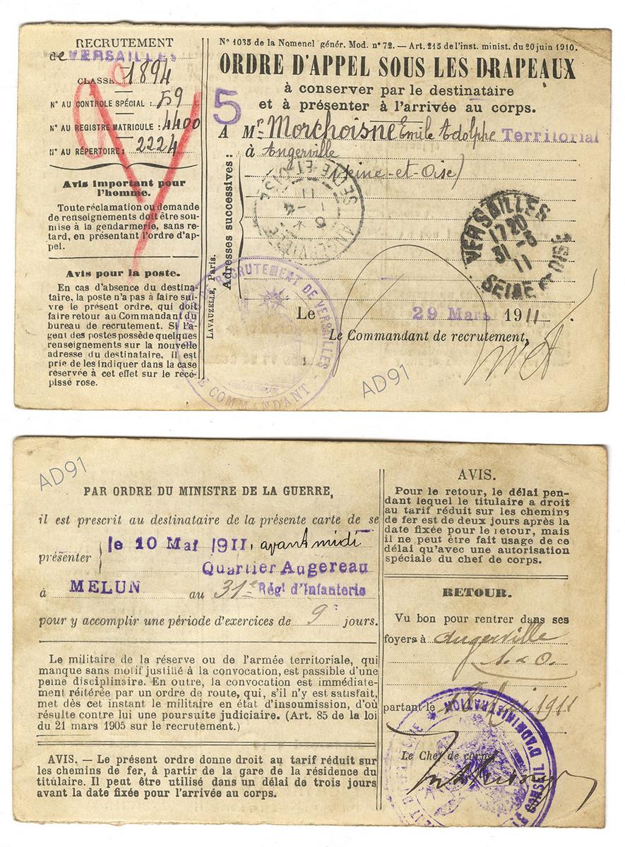 3 - Ordre d'appel sous les drapeaux, 10 mai 1911. (032NUM041/08)