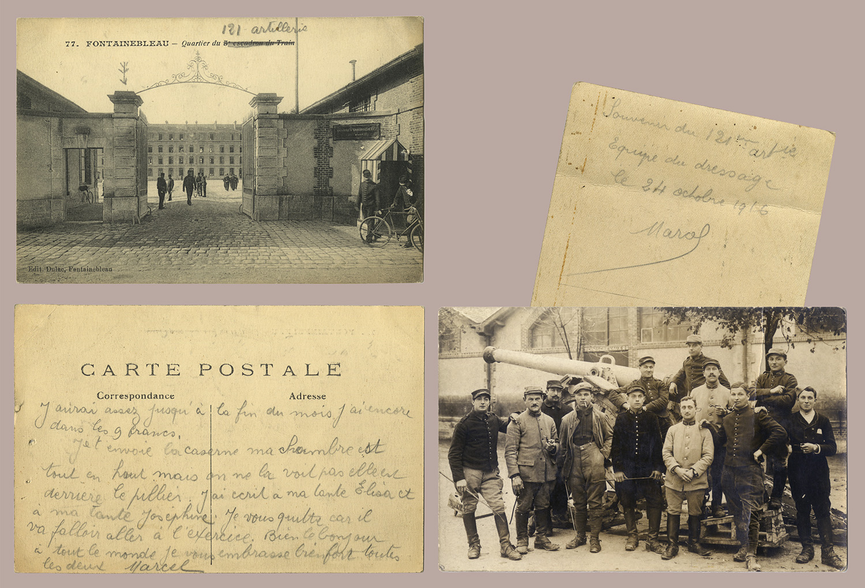 3 - L'entrée de la caserne ou réside le 121e régiment d'artillerie à et l'équipe de dressage, 24 octobre 1916. (032NUM044/003-004)
