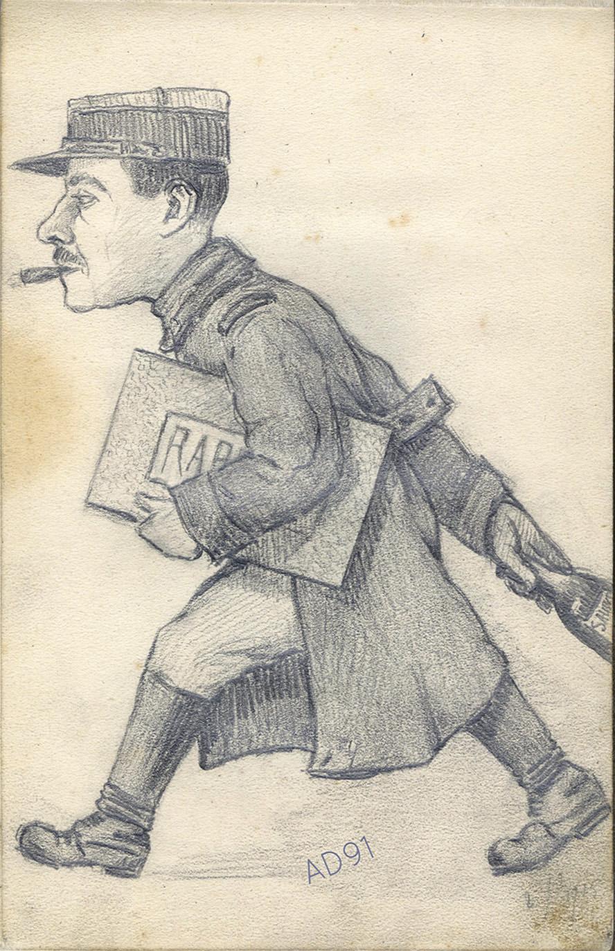 03 - « Le rapport », croquis de Lucien Duclair, 2 février 1915. (93J2/5)