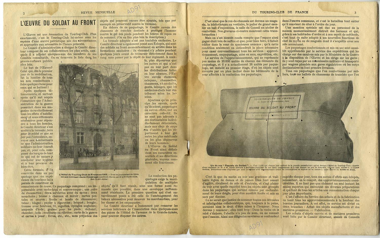 3 - L'œuvre du soldat au front, article extrait de la revue Touring-Club de France, août 1914-avril 1915. (032NUM040/03)