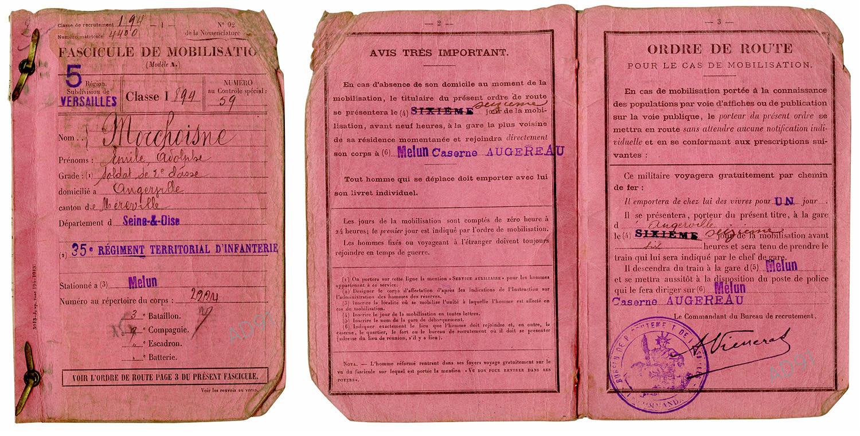 4 - Fascicule de mobilisation, 1914. (032NUM041/26-27)