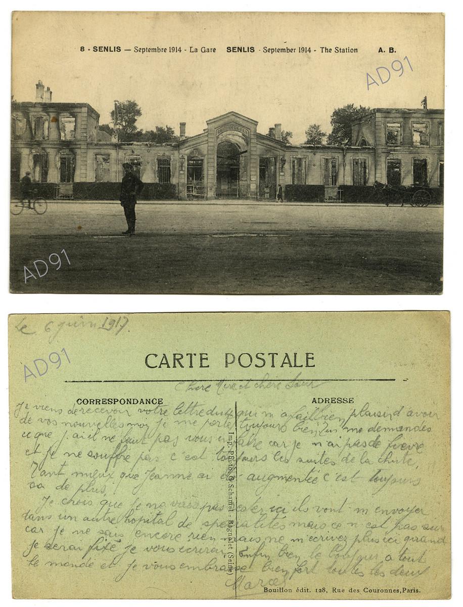 4 - La gare de Senlis. Correspondance de Marcel Rogé à sa mère et sœur, 6 juin 1917. (032NUM044/007)