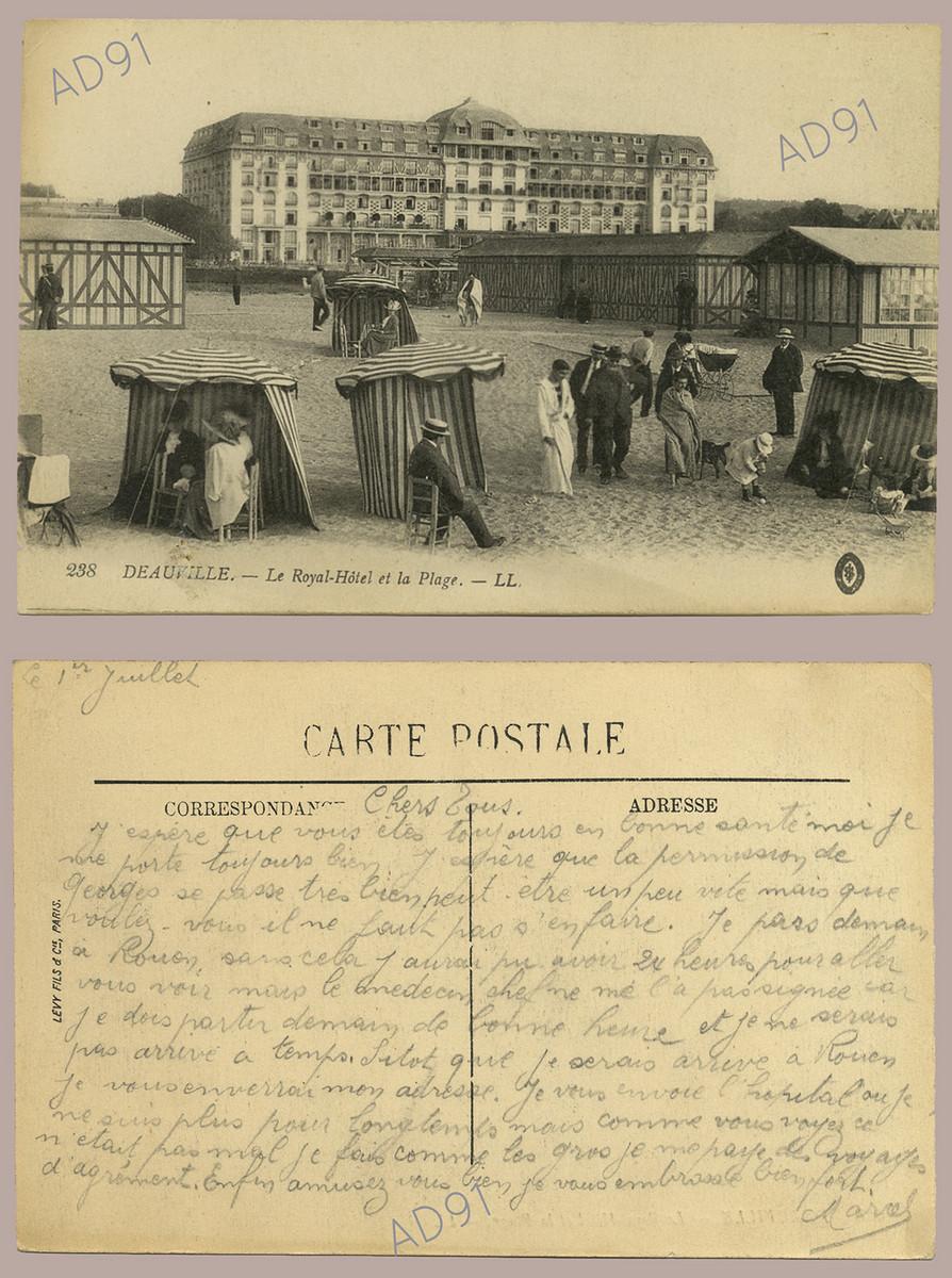 5 - L'hôtel royal et la plage de Deauville. Correspondance, 1er juillet 1917. (032NUM044/012)
