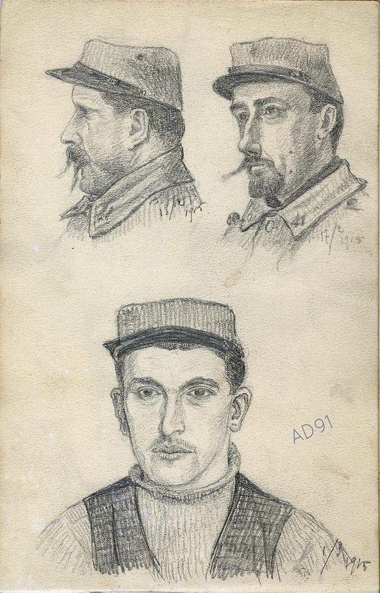 05 - Soldats du 41e régiment d'infanterie, croquis de Lucien Duclair, 17-18 février et 1er mars 1915. (93J2/11)
