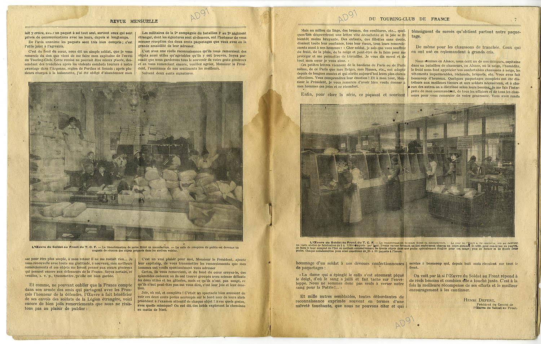 5 - L'œuvre du soldat au front (suite), article extrait de la revue Touring-Club de France, août 1914-avril 1915. (032NUM040/05)