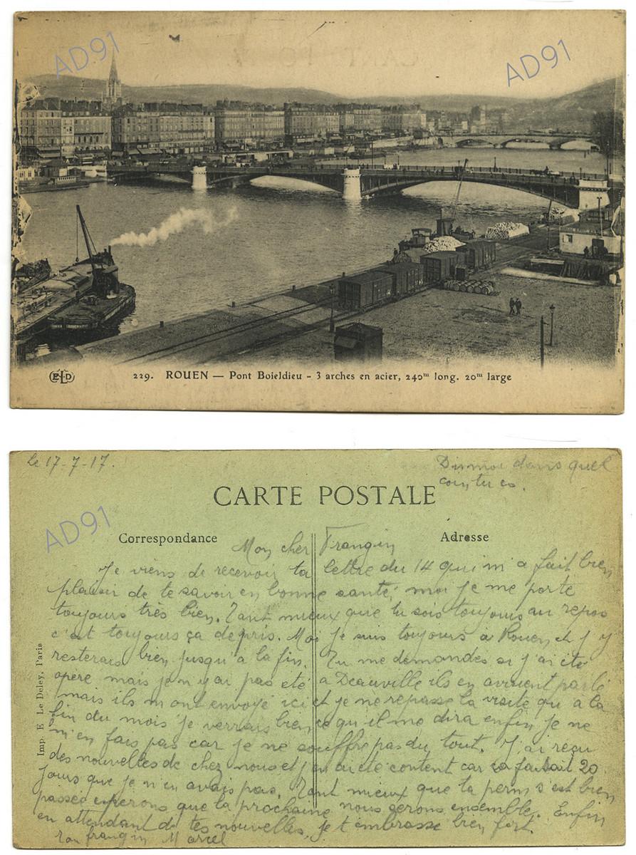 6 - Le pont Boieldieu à Rouen. Correspondance de Marcel Rogé à son frère Georges, 17 juillet 1917. (032NUM044/014)