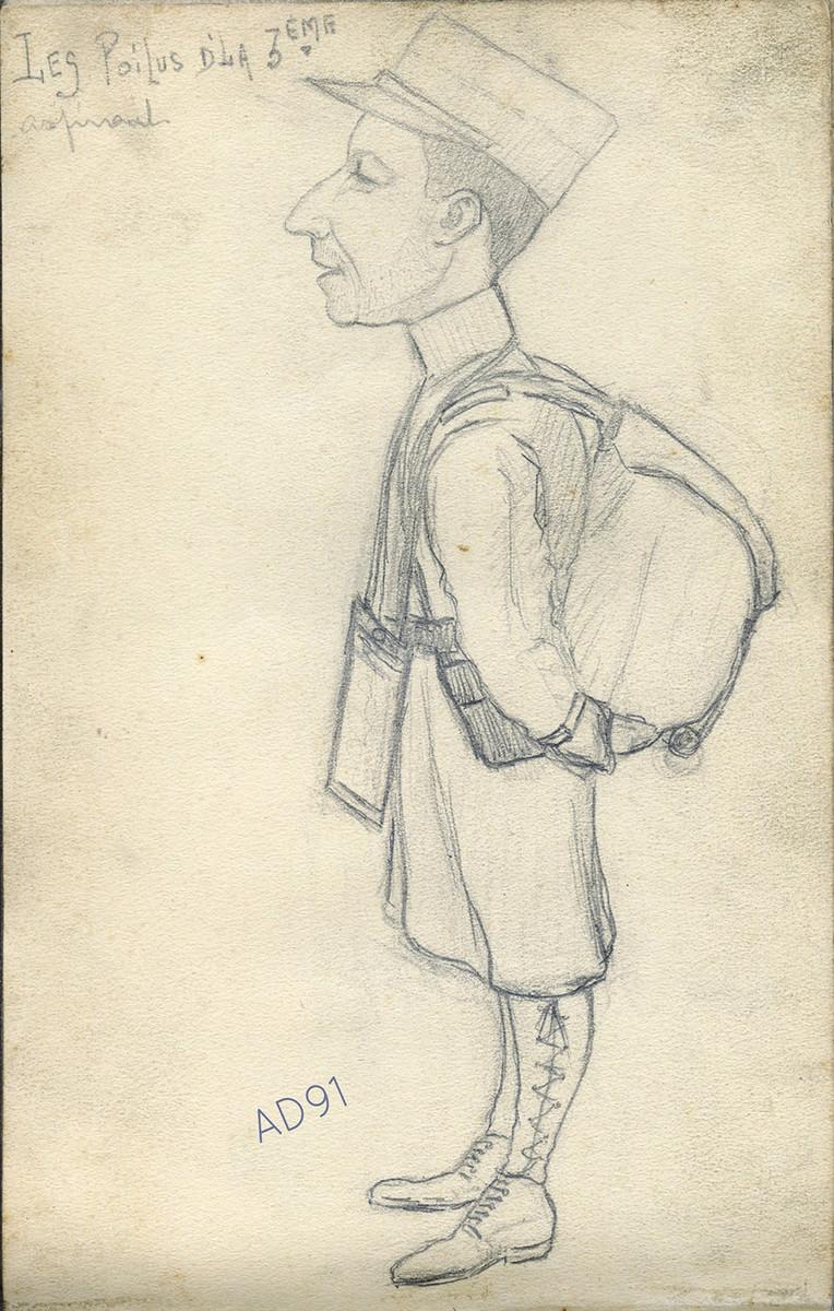 06 - « Les poilus d'la 3e, aspirant », croquis de Lucien Duclair, sd. (93J2/14)