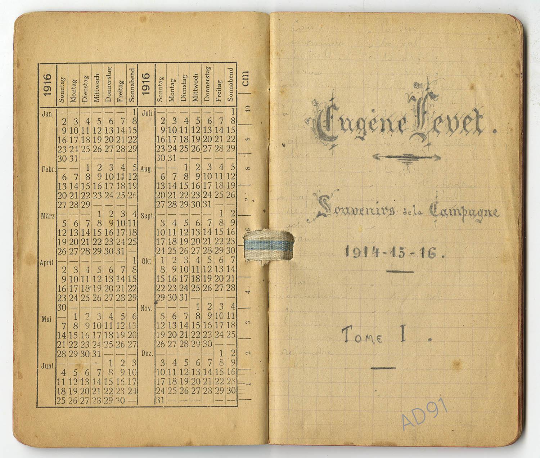 6 - Titre du carnet des « souvenirs de campagne » d'Eugène Levet, 1914-1915. (032NUM045/009)
