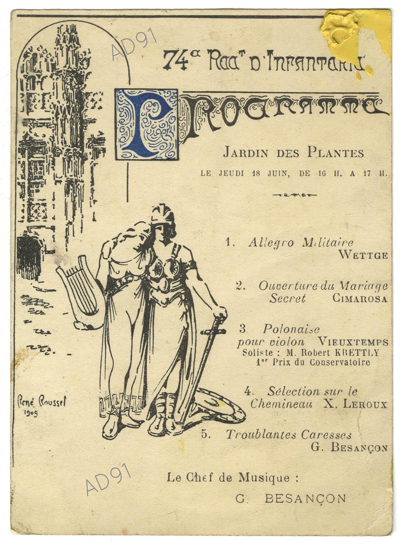 7 - Programme musical du concert donné aux Jardins des plantes par le 74e régiment d'infanterie. (032NUM019/011)