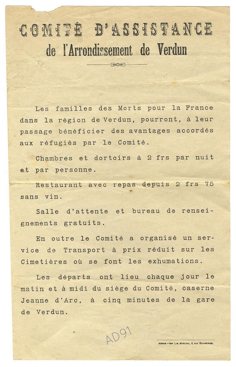 8 - Note aux familles des soldats « Morts pour la France » dans la région de Verdun.  (032NUM041/34)