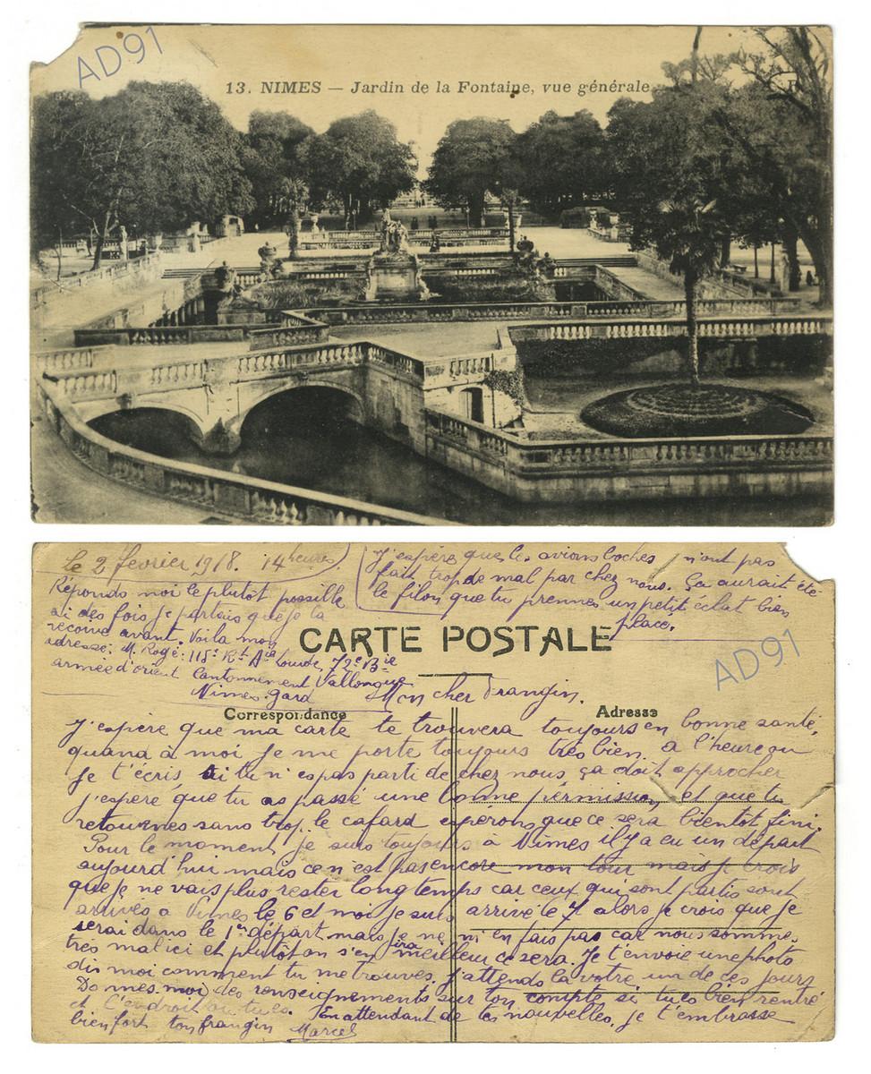 8 - Jardin de la Fontaine à Nîmes. Correspondance de Marcel Rogé à son frère Georges, 2 février 1918. (032NUM044/022)