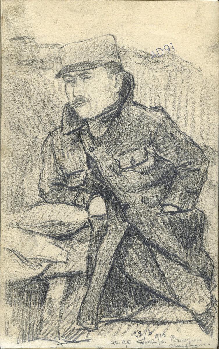 08 - « Cote 196, fortin en Champagne », croquis de Lucien Duclair, 28 mars 1915. (93J2/22)