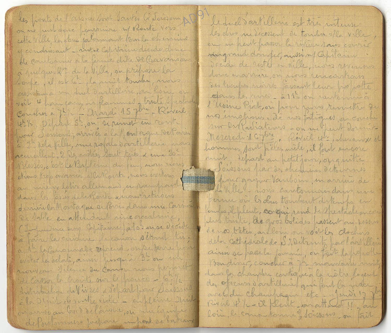 8 - Carnet des « souvenirs de campagne » d'Eugène Levet, extrait du 15 au 16 septembre 1914. (032NUM045/015)