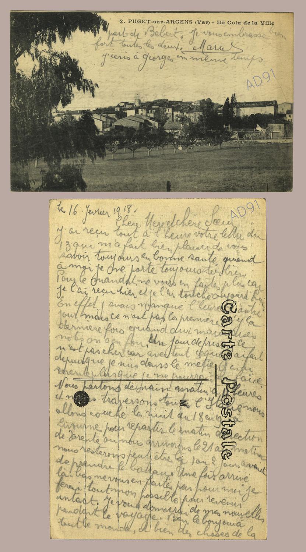 09 - Un coin de la ville de Puget-sur-Argens (Var). Correspondance de Marcel Rogé à sa mère et sœur, 16 février 1918. (032NUM044/021)