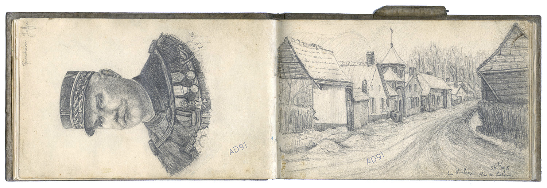 09 - « Généralissime Joffre » et « Sur Saint-Léger, Pas de Calais », croquis  de Lucien Duclair, 25  et 28 février 1915. (93J2/25)