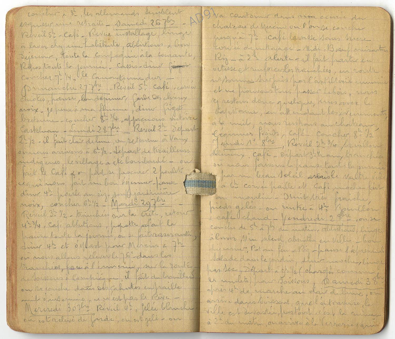 9 - Carnet des « souvenirs de campagne » d'Eugène Levet, extrait du 26 septembre au 3 octobre 1914. (032NUM045/018)