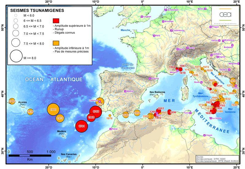 Les tsunamis dans l'Atlantique et en Méditerranée