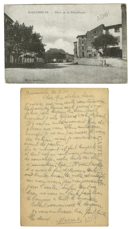 10 - Place de la République de Roquebrune-sur-Argens (Var). Correspondance de Marcel Rogé à sa mère et sœur, 24 février 1918. (032NUM044/028)