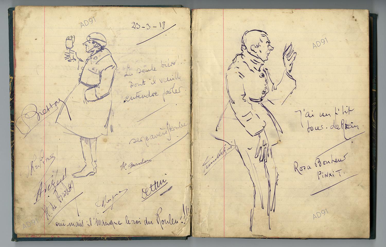 Livre d'or du restaurant Pannetier à Mérobert, 1917. (032NUM046/01-14)