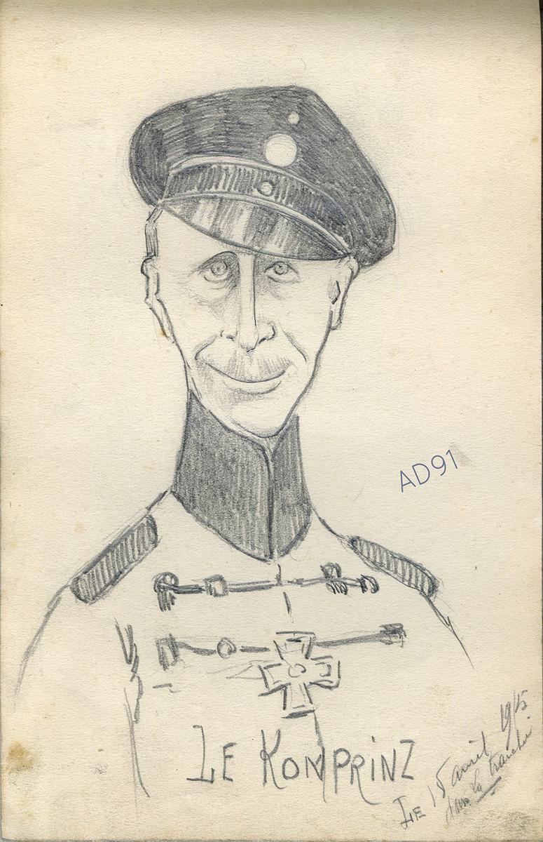 11 - « Le Komprinz », croquis de Lucien Duclair fait dans la tranchée, 18 avril 1915. (93J2/26)