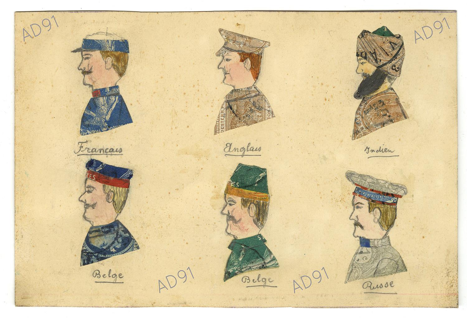 11 - Portraits de soldats français et alliés, dessins et collages de timbres-poste sur carte postale, signés L. P. (032NUM019/138)