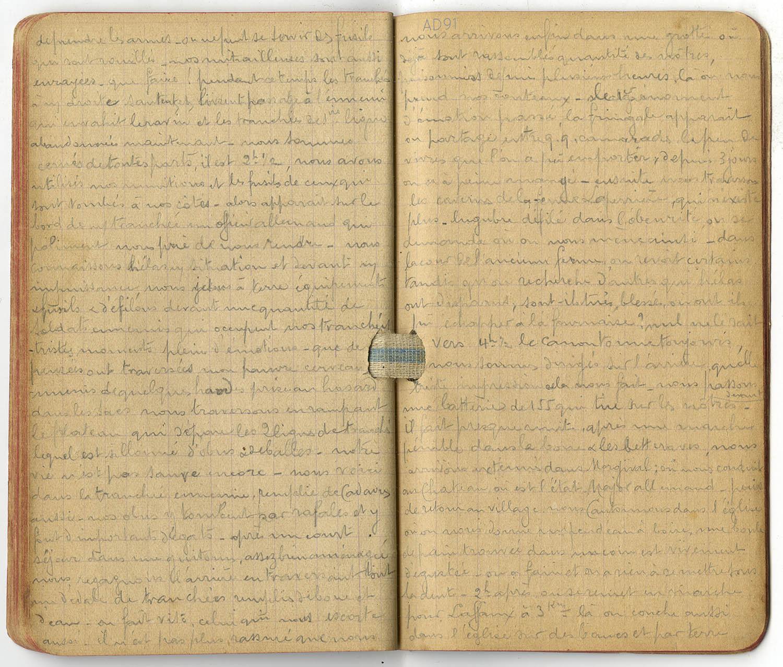 11 - Carnet des « souvenirs de campagne » d'Eugène Levet, extrait du 12 janvier 1915 : début de captivité. (032NUM045/031)