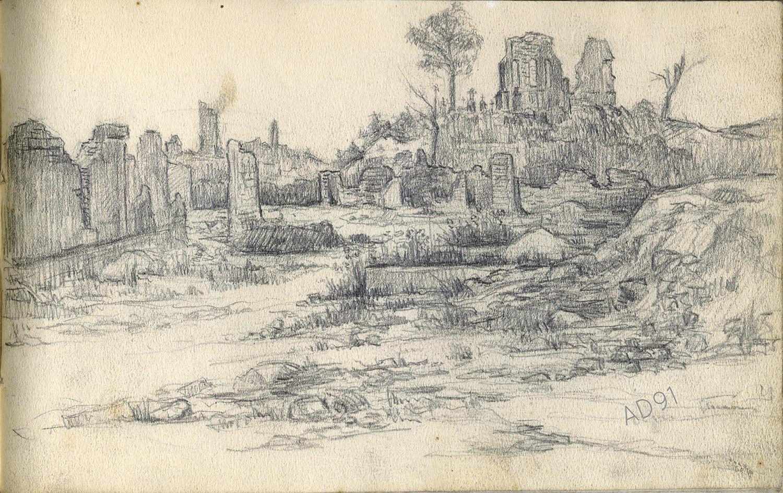 12 - Ruines, croquis de Lucien Duclair, sd. (93J2/27)