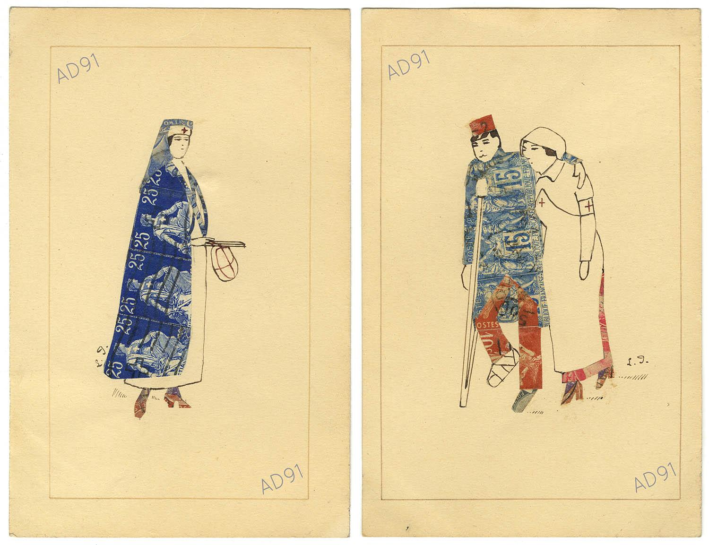 12 - Infirmières et soldat blessés, dessins et collages de timbres-poste sur carte postale, signés L. P. (032NUM019/148-149)