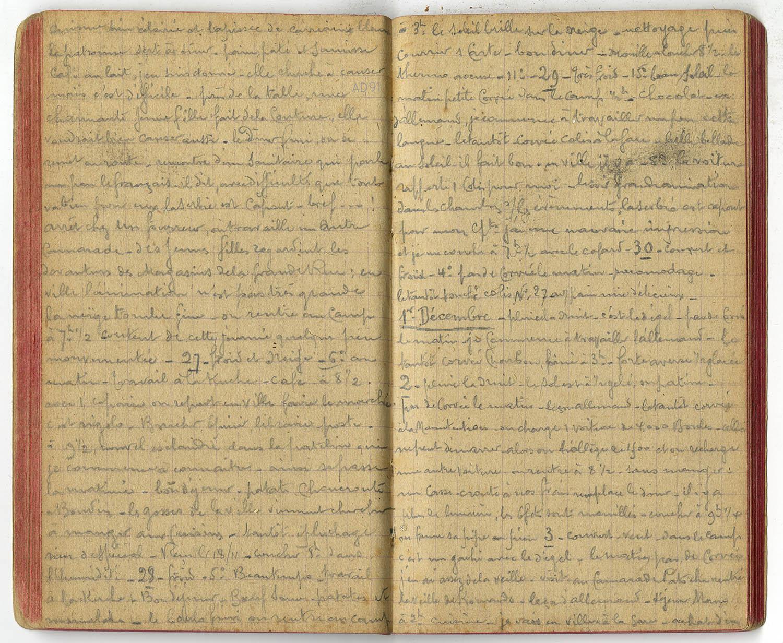 12 - Carnet des « souvenirs de captivité » d'Eugène Levet, extrait du 26 novembre au 3 décembre 1915. (032NUM045/069). Eugène est au camp de Lauban.