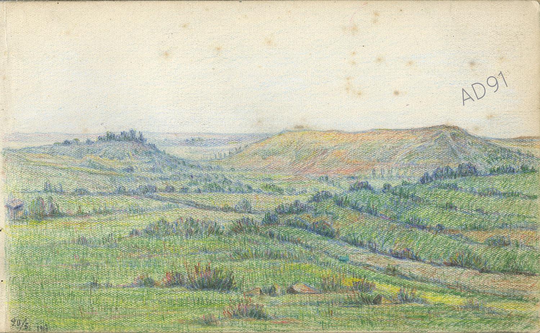 13 - « Les Eparges », croquis de Lucien Duclair, 20 mai 1917. (93J3/08)
