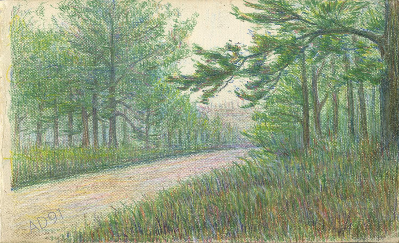 14 - « Les Eparges, la tranchée Calonne », croquis de Lucien Duclair, 22 mai 1917. (93J3/09)