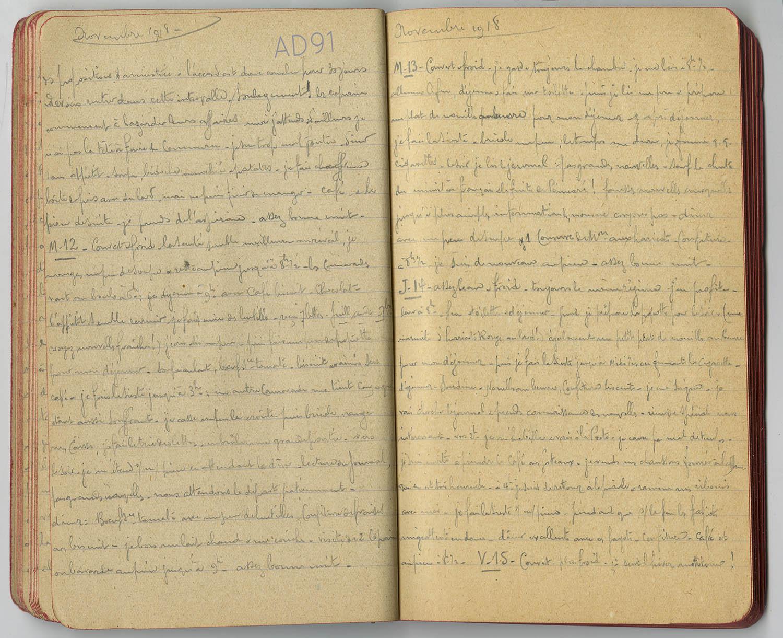 14 - Carnet des « souvenirs de captivité » d'Eugène Levet, extrait du 11 au 15 novembre 1918, où il apprend l'armistice et attend le départ. (032NUM045/261)