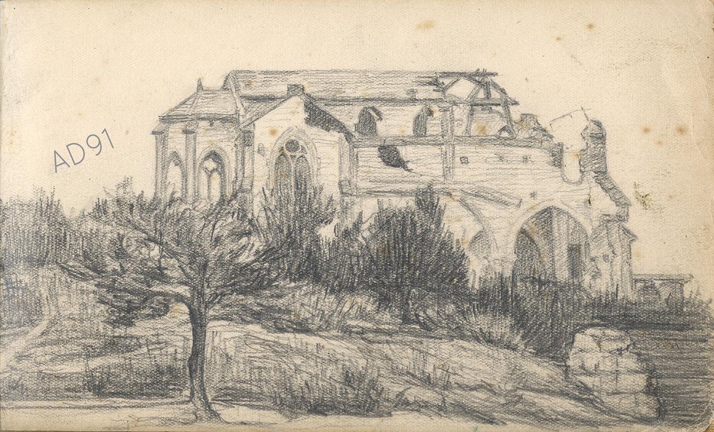 15 - « L'église de Massiges, Champagne » croquis de Lucien Duclair, sd. (93J3/14)