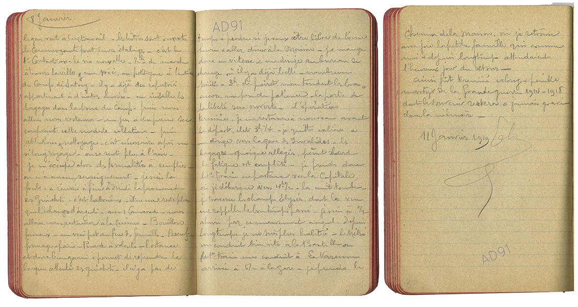 15 - Carnet des « souvenirs de captivité » d'Eugène Levet, extrait du 8 janvier au 11 janvier 1919. Retour d'Eugène dans sa famille à La Varenne. (032NUM045/296-297)