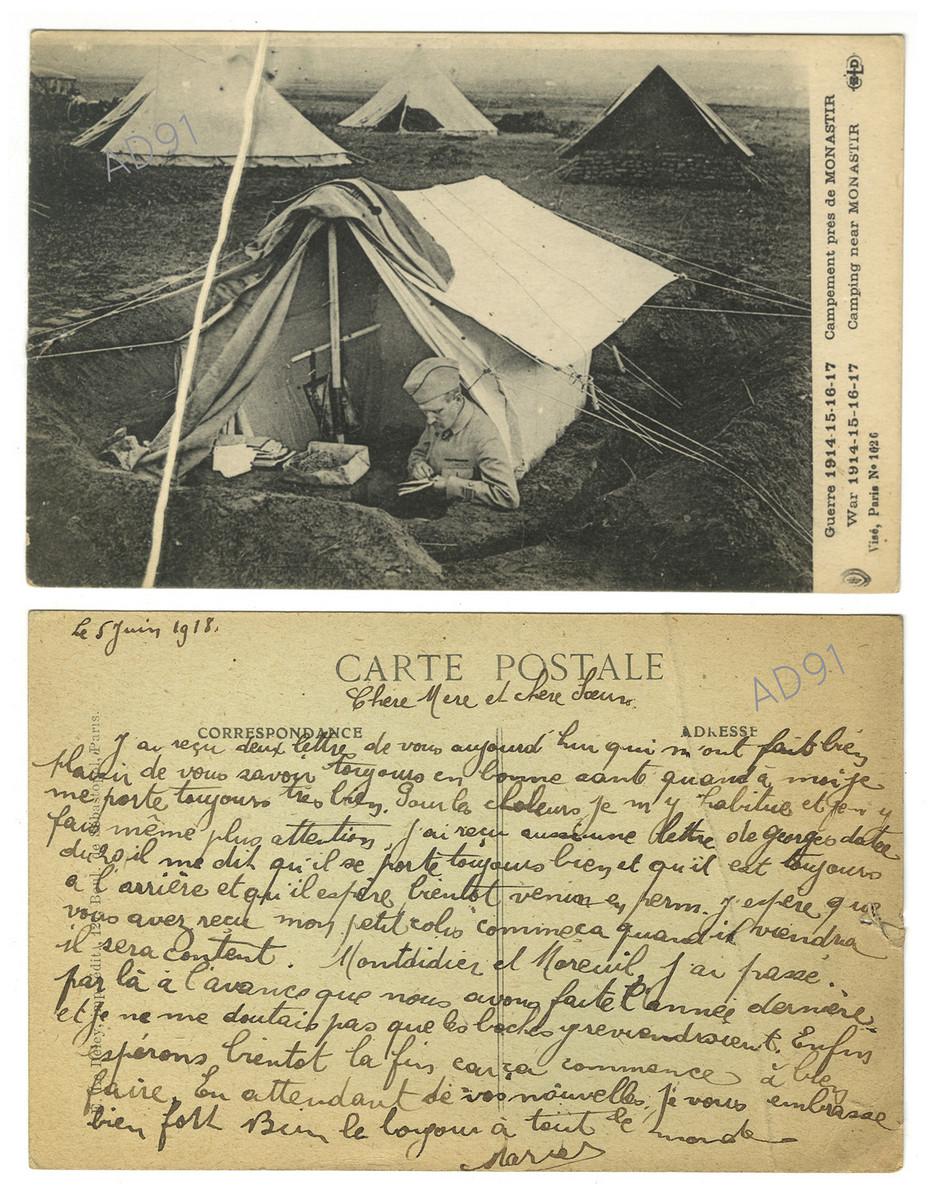 16 - Campement près de Monastir.  Correspondance de Marcel Rogé à sa mère et sœur, 5 juin 1918. (032NUM044/46)