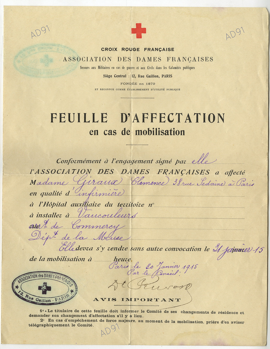 16 - Affectation pour l'hôpital militaire de Vaucouleurs par la Croix-Rouge française, 29 janvier 1915.  (032NUM048/080)