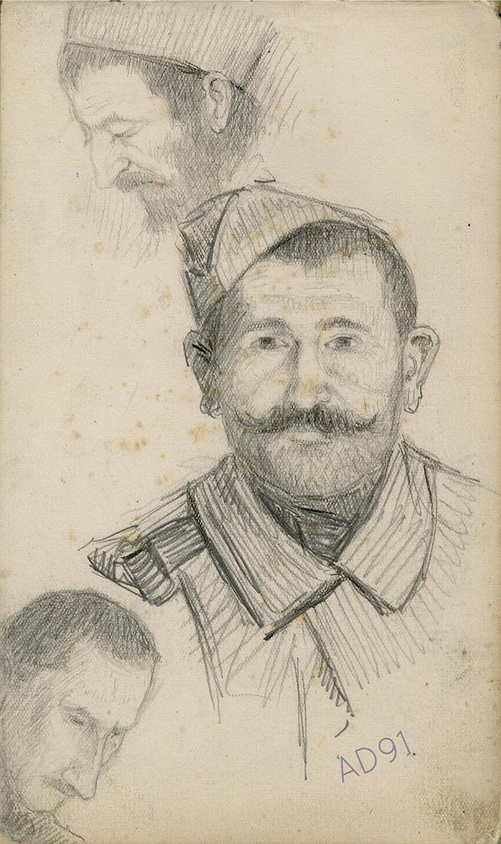 17 - Portraits de soldats, croquis de Lucien Duclair, sd. (93J3/29)